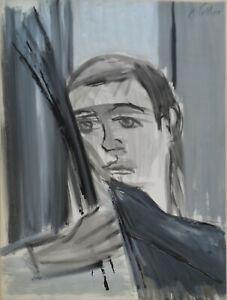 """André TELLIER  - """"""""auto portrait """"  encres vers 1950/60"""