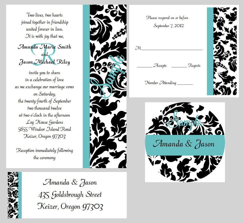 50 Personalized Monogram Stripe Damask Bridal Wedding Invitations Set Any Farbe