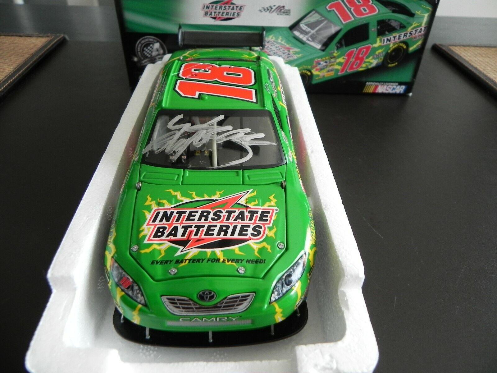 NASCAR AUTOGRAPHED KYLE BUSCH 2008  18 INTERSTATE BATTERIES COT DIECAST