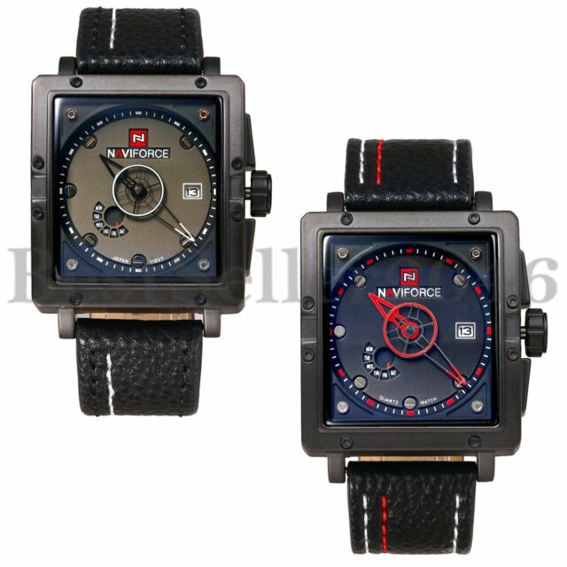 Military Waterproof Men's Square Dial Date Leather Quartz Analog Wrist Watch