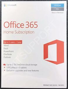 Microsoft Office 365 Home English Subscription 1 Year Product Key Upto 5 Users | eBay