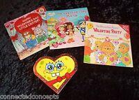 Kids Valentines Book Lot: Berenstain Bears, Strawberry Shortcake, Spongebob