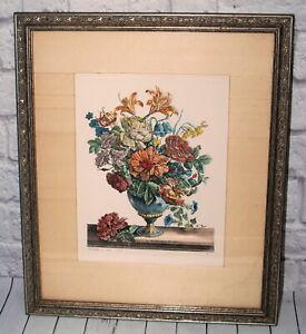 Vtg De Poilly Etching Print Framed Art Flower Arrangement ex CPR V.S Number 3