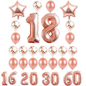 Happy-Rose-Confetti-Pc-Gold-Birthday-Foil-Set-24-Ballon-Decoration-Balloon-Party