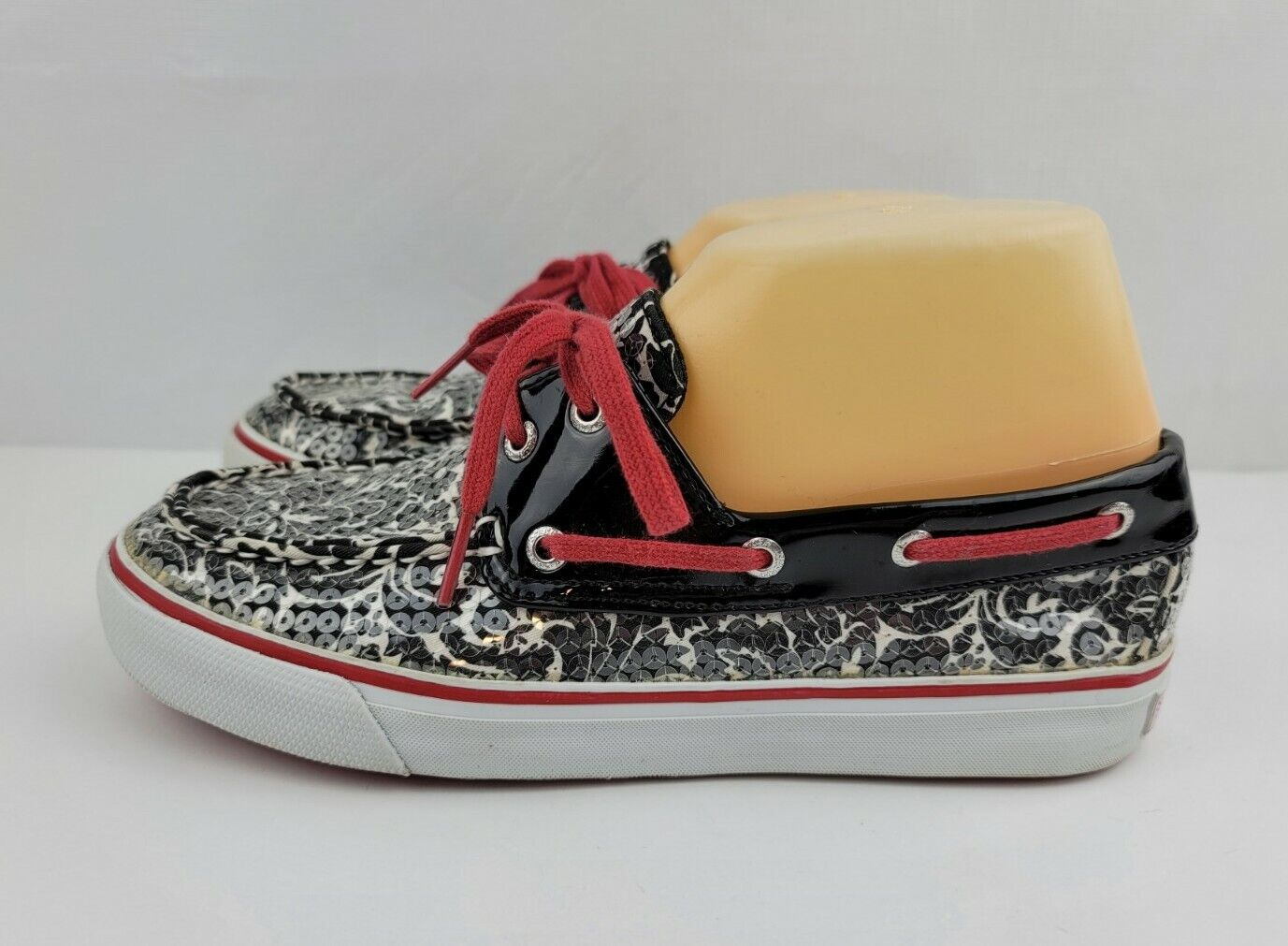 Sperry Top Sider Womens 6.5 M Black White Floral Sequin Boat Shoes Loafers