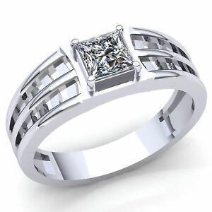 05ctw Princess Cut Diamond Mens Classic Solitaire Wedding Band Ring