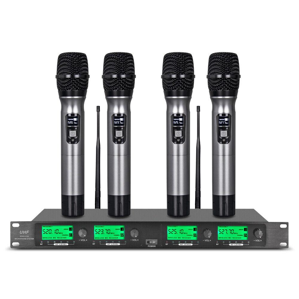 Image 1 - Wireless Microphone System 4 Channel 4 Handheld Metal Mic Pro Audio UHF Karaoke