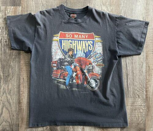 Vintage 1990s Harley Davidson Napoleon Ohio Motorcycles Long Sleeve Graphic T-Shirt  MEDIUM
