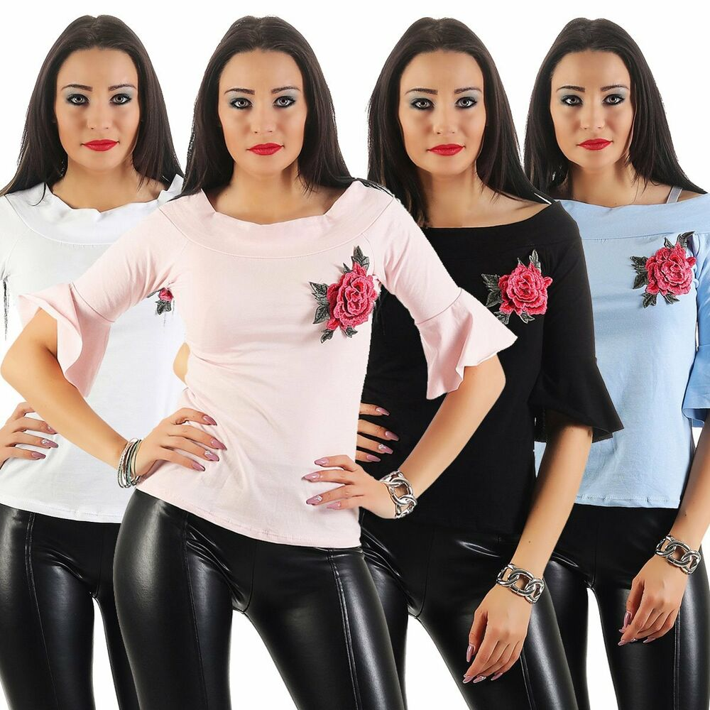 11202 Femmes Chemisier Shirt Stretchshirt Boho-style 1/2-arm