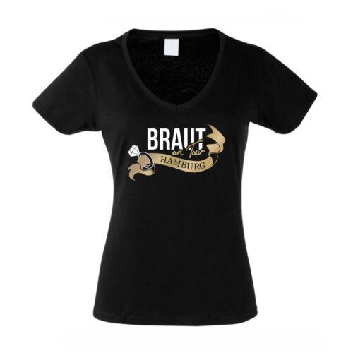 Hamburg JGA Hochzeit HH Polter Team Braut on Tour Damen T-Shirt V-Neck