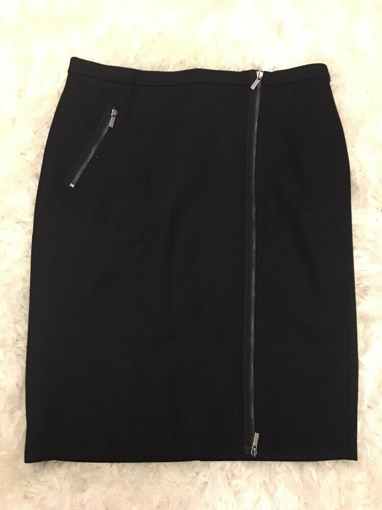 New J Crew Asymmetrical Zip Pencil Skirt in Wool Deep Navy Sz 14 B0145