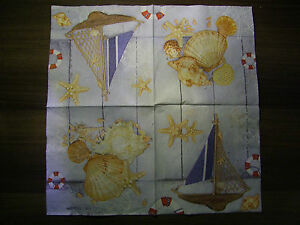 4 Vintage PAPER Table NAPKINS  Party   Decoupage  Craft sea - <span itemprop=availableAtOrFrom>Bedford, United Kingdom</span> - 4 Vintage PAPER Table NAPKINS  Party   Decoupage  Craft sea - Bedford, United Kingdom