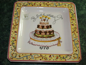 Excellent Square Birthday Cake Plate Made In Italy New With Tag 7 3 4 Birthday Cards Printable Trancafe Filternl