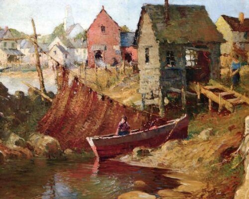 Art Boat Shacks Fishing Net Woman Water 8x10 Print 214 Rockport by G A Aldrich
