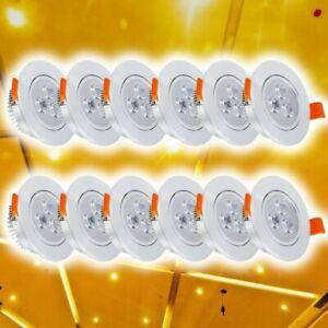 12x-LED-Spot-Einbaustrahler-Decken-Strahler-Set-3W-Einbau-Lampe-Leuchte-Warmweiss