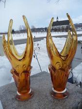 Set of 2 Mid Century Modern Free Form Stretch Art Glass Amber Yellow Vase Chalet