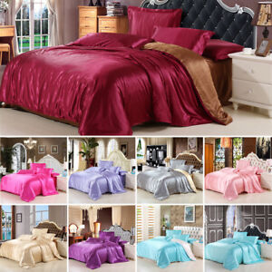 Image Is Loading Soft Satin Silk Bedding Set Twin Queen King