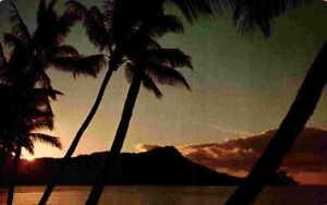 Sun Rising Over Diamond Head Sunrise Bay Hawaii HI Nani Li'i Vintage Postcard