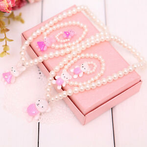 Kids Girls Pink White Princess Beads Necklace/&Bracelet/&Ring Set Jewelry Gifts