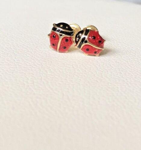 Enfants Lady Bug Boucles d/'oreilles à vis Arrière 14K or jaune preciosos Nina MARIQUITA