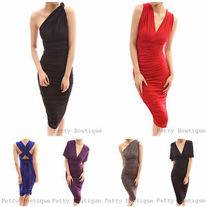 Convertible-V-Neck-One-Shoulder-Open-Back-Ruched-Party-Evening-Dress-XS