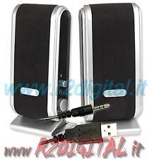 CASSE NOTEBOOK ALIMENTAZIONE USB ALTOPARLANTI COMPUTER PC AUDIO 2.0 MP3 MP4 IPOD
