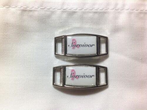 2 charm Breast Cancer Survivor rectangle paracord shoe charm pair
