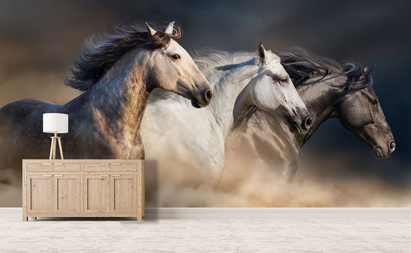 3D Three Running Horses 56 Wall Paper Wall Print Decal Deco Indoor Wall Mural CA
