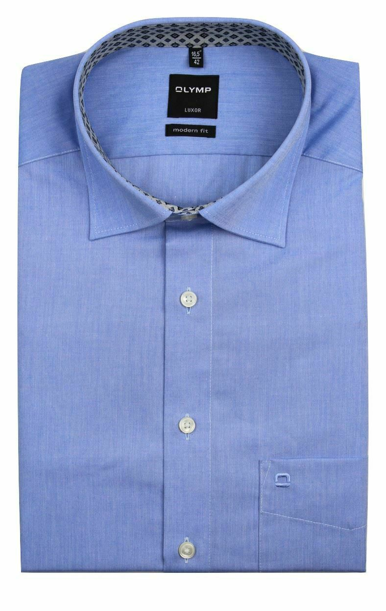 Blue Chambray (Geo) Spread Collar