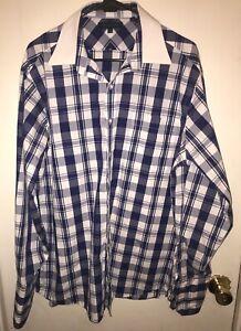 Tommy-Hilfiger-Men-s-Size-Medium-16-1-2-Gingham-Button-Down-Dress-Shirt-Blue