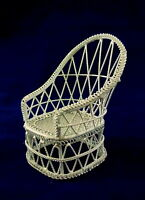 Dolls House Miniature 1:12 Scale Furniture White Wire Wrought Iron Wicker Chair