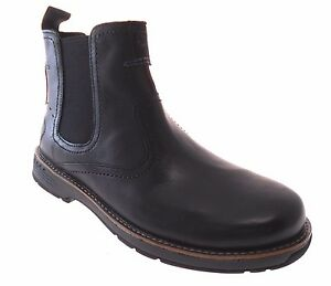 MERRELL REALM PULL MEN'S BLACK LEATHER PULL ON BOOTS # ...
