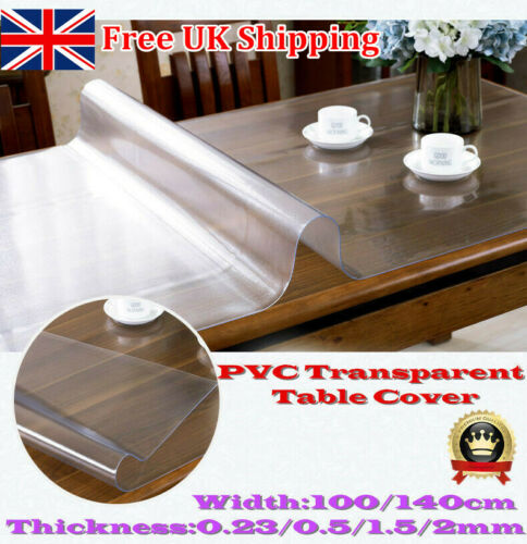 2mm Thick 100cm Wide Clear Waterproof Vinyl PVC Tablecloth Table Protector Cover