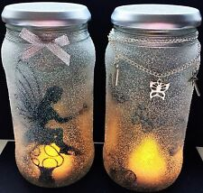 FAIRY IN A JAR, NIGHTLIGHT, GLOW JAR, HAND PAINTED, DECORATED GLITTERY FAIRY JAR