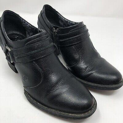 Details about  /BOC Born Concept Black Leather Side Zip Heel Bootie Shoes Womens Size 7 Medium