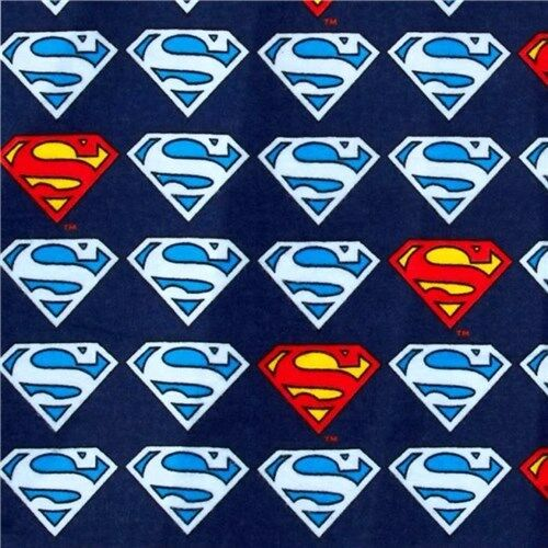 Comics Cotton Flannel Fabric by the Yard Flannel Superman Shield Blue D.C
