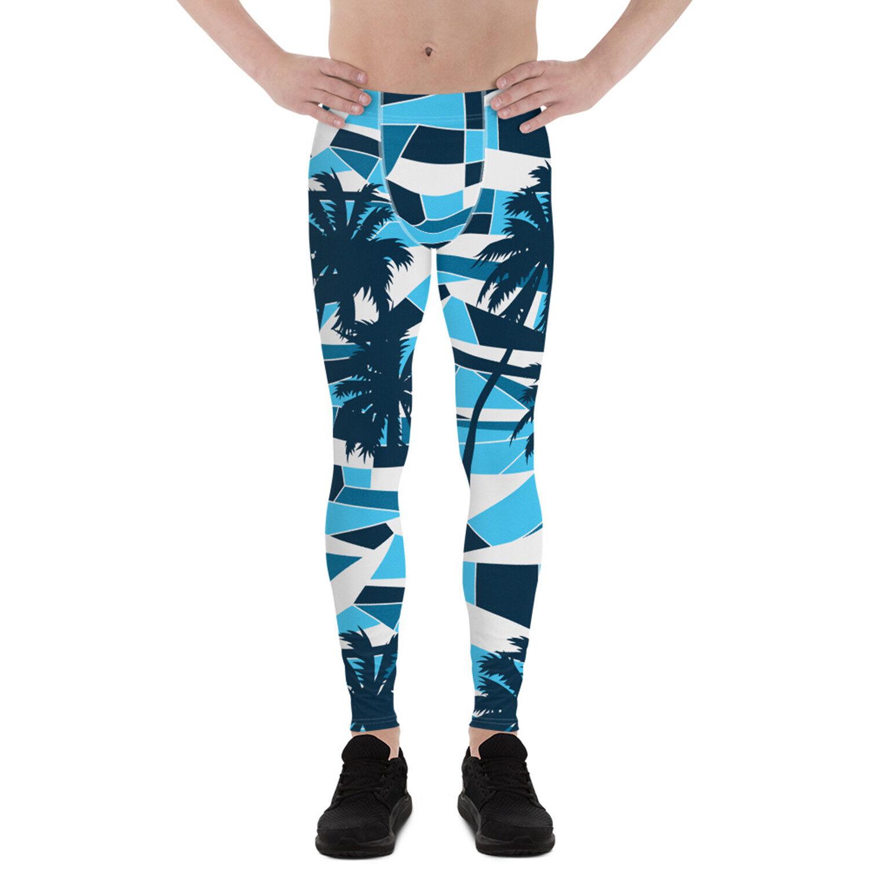 Mens Tropical Leggings blu Meggings For Men w Palm Trees Beach Printed Pants