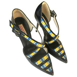 L-K-Bennett-Women-039-s-Laura-Bailey-Monica-Patent-and-Canvas-in-Multi-Navy-Shoes