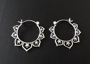 Genuine-925-Sterling-Silver-Hoop-Earrings-Tribal-Ethnic-Lotus-Filigree-Pattern