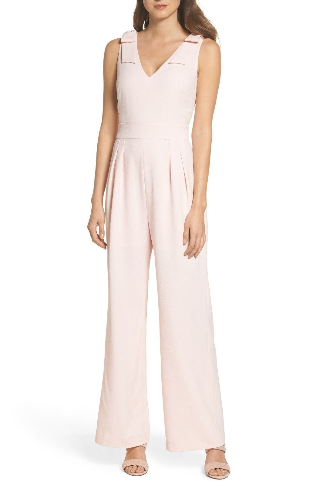 CHELSEA28 Bow Shoulder Jumpsuit, Size 14, Pink, MSRP  168,  JC1037