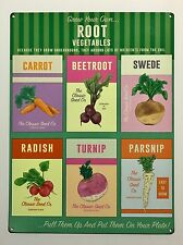 Grown Your Own Root Vegetables - Tin Metal Wall Sign