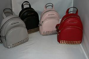 5d1dcc8d43d Details about MICHAEL Michael Kors Abbey XS Studded Backpack - Pearl Grey,  Red, Blossom, Black