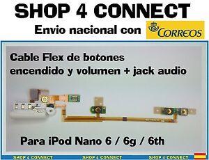 iPod-Nano-6-Audio-Flex-boton-volumen-encendido-cable-6g-6th-jack-auriculares-new