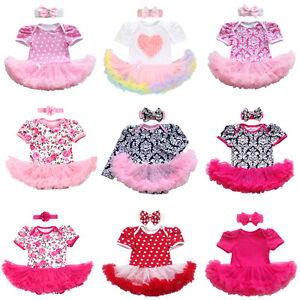 2PCS Baby Girl Newborn Clothes Flower Romper Bodysuit Tutu Dress Headband Outfit