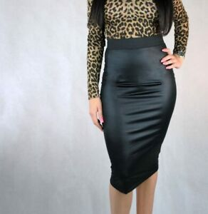 WOMENS-WETLOOK-BODYCON-SKIRTS-LADIES-WINTER-WARM-FAUX-LEATHER-MIDI-PENCIL-SKIRT