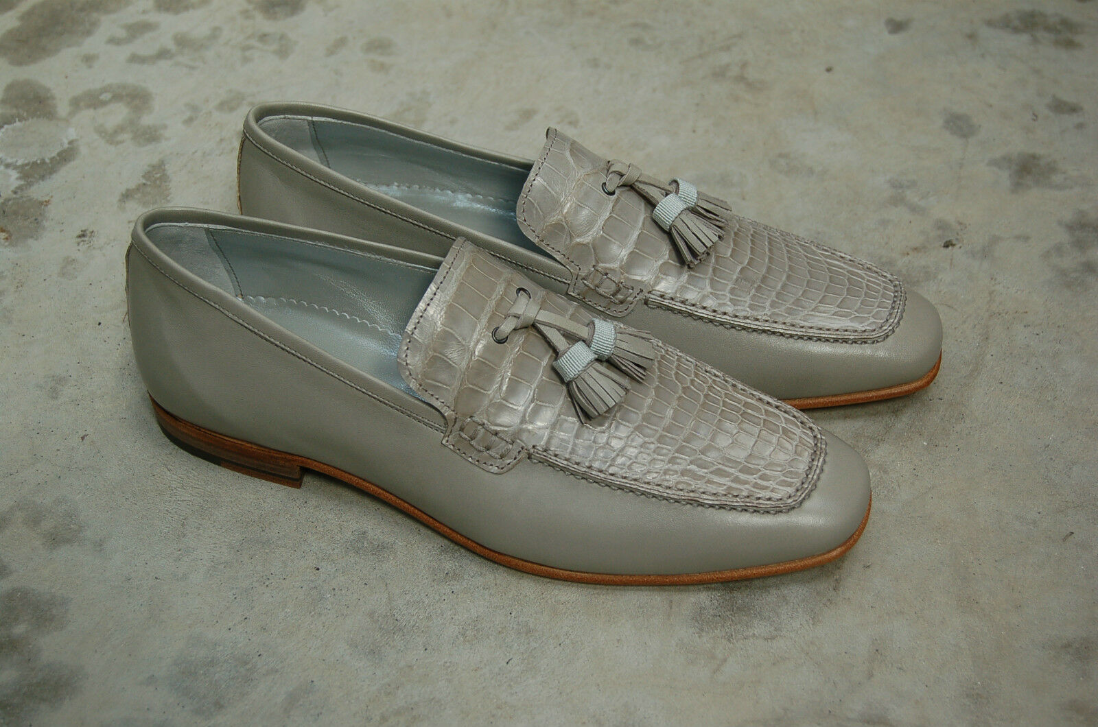 l'ultimo MAN - 41 - 7EU - TASSEL TASSEL TASSEL LOAFER - grigio KIDSKIN + GENUINE ALLIGATOR - LEATHER SOLE  garantito