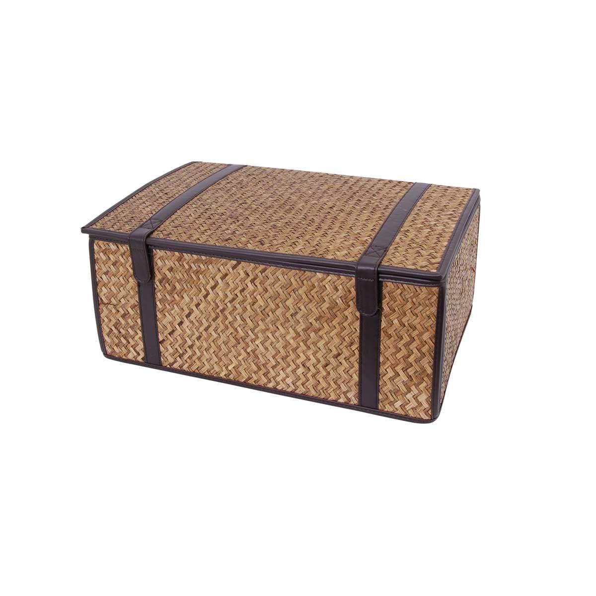 10 x WBC Folding Matt Grass & Faux Leather Hamper Baskets FMG15 Fold for Storage