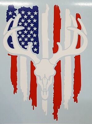 Patriotic Flag Buck Deer Skull Hunting Truck Window Custom