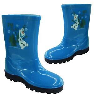 New Kids Infants Wellies Rubber Rainy Snow Olaf Design Blue Wellington Boots