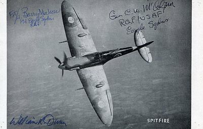 WWII RAF EAGLE SQUADRON: Picture of Spitfire Autographed by 3 USA Aces |  eBay